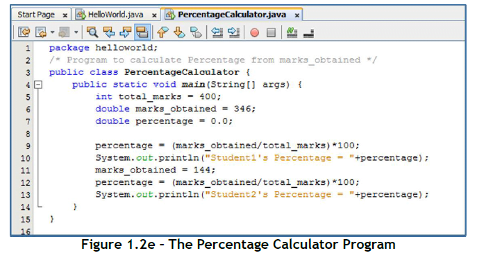Java Program To Calculate Percentage Of A Student